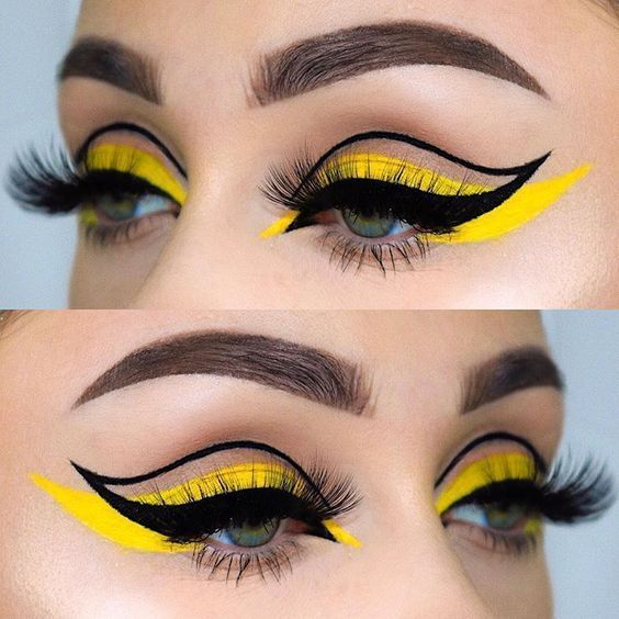 graphic eyeliner twiggy floating crease makeup trends winged liner yellow eyeshadow false lashes lash strips trends 2020
